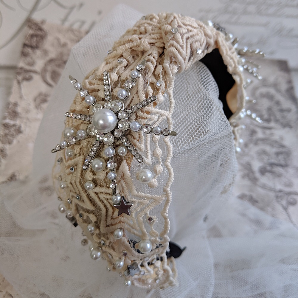 Pearl and Crystal Silver Celestial Headband