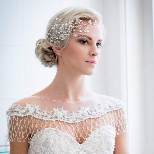 Contemporary and romantic bridal hair vine handcrafted in Nottingham