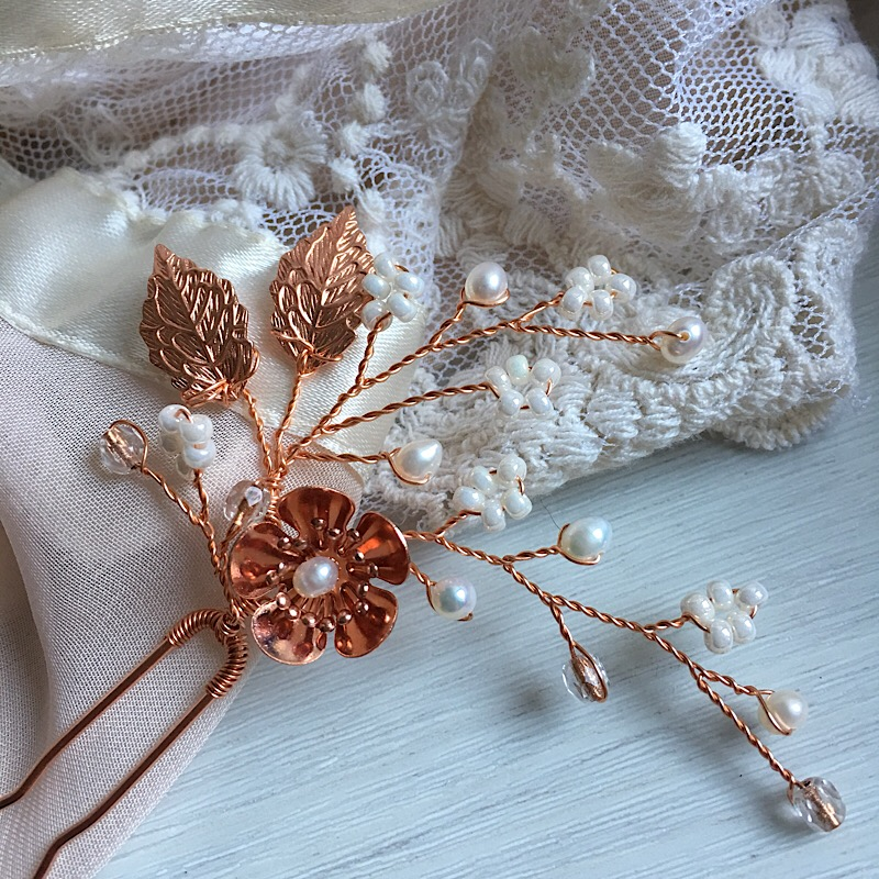 Rose Gold Flower and Pearl Hair Pins (Set of 3)