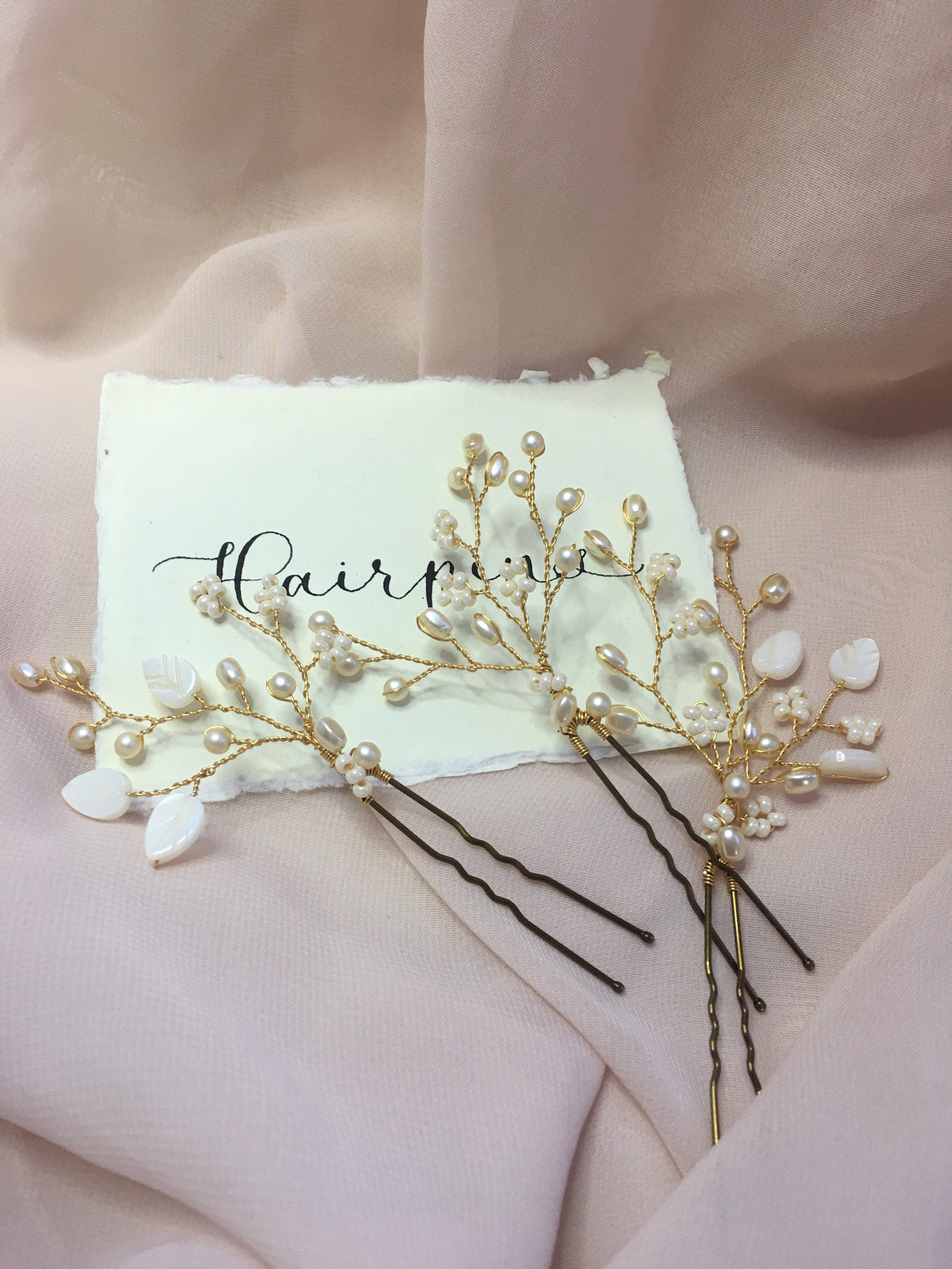 Shell Leaf and Pearl Hair Pins (Set of 3)