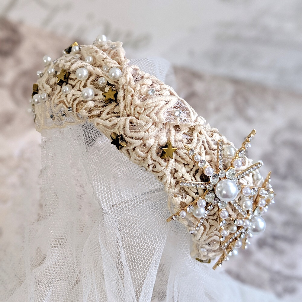 Pearl and Crystal Gold Celestial Headband