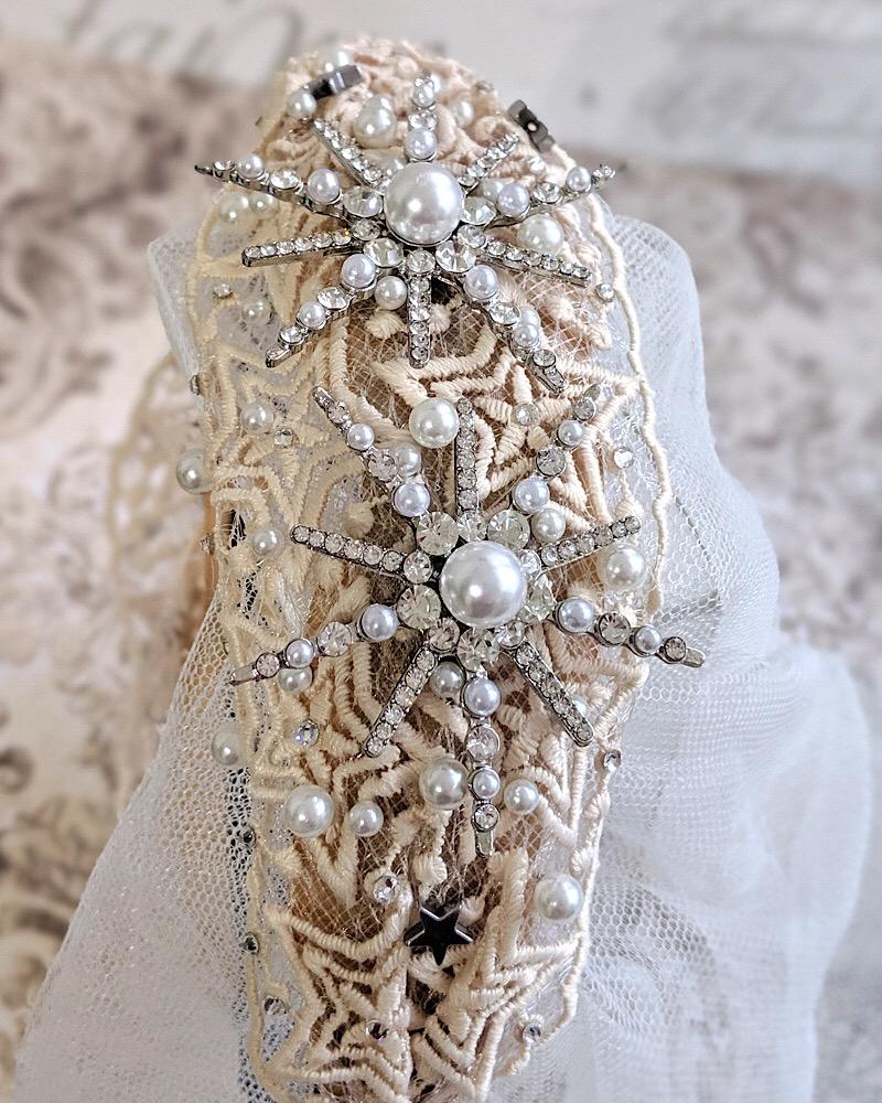 Pearl and Crystal Silver Celestial Headband