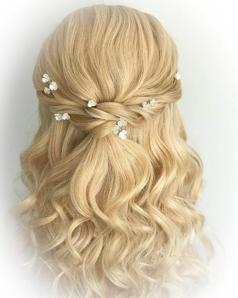 Ivory Floral & Swarovski Crystal Hair Pins (Set of 12)