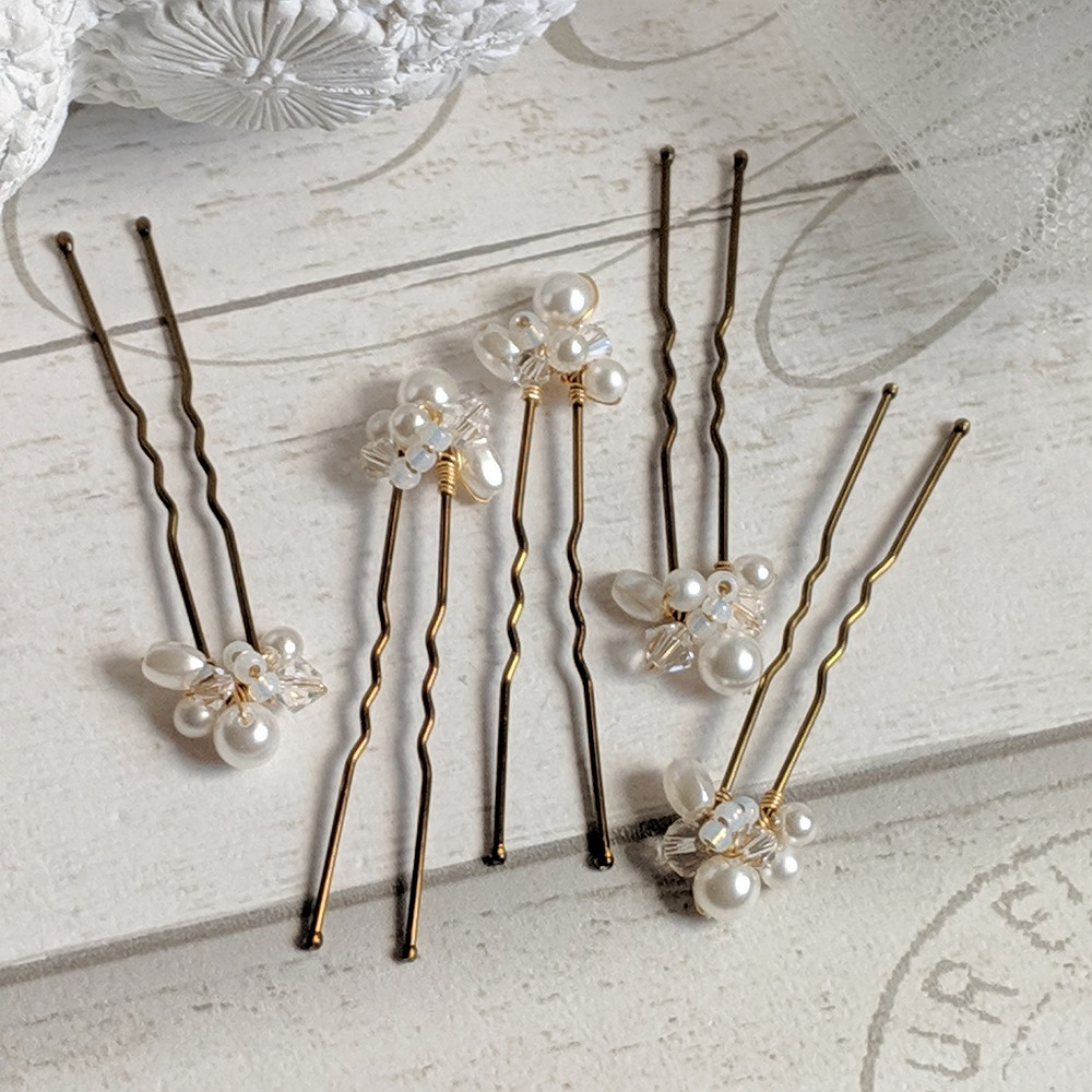 Pearl and Crystal Cluster Pin Set