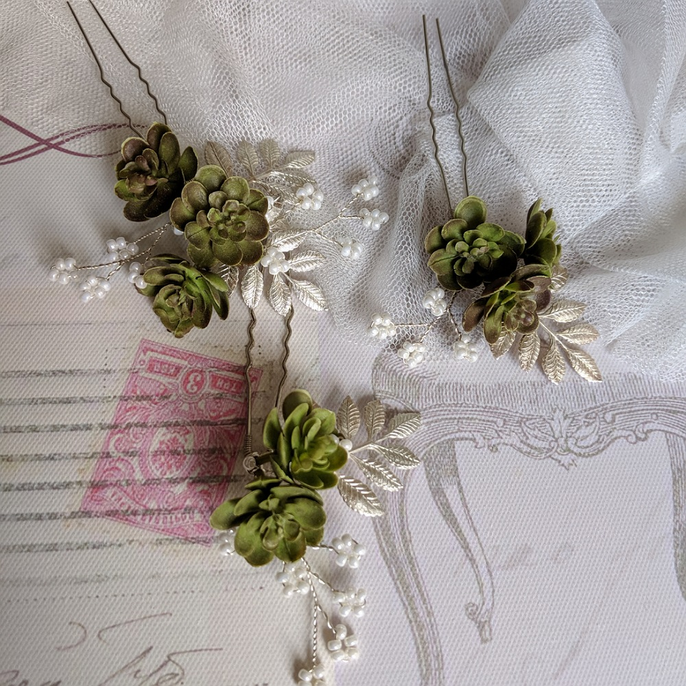 Silver leaf and Succulent Hair Pins