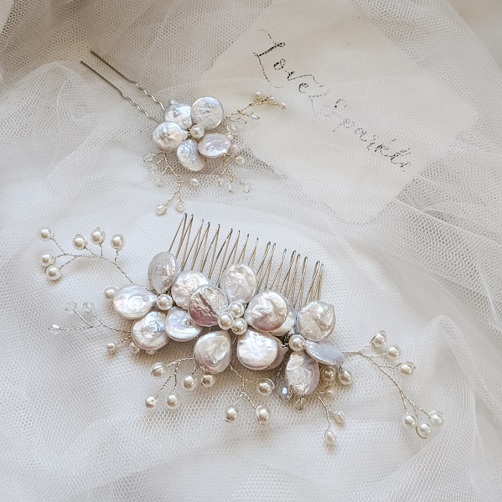Coin Pearl & Swarovski Comb and Pin Set