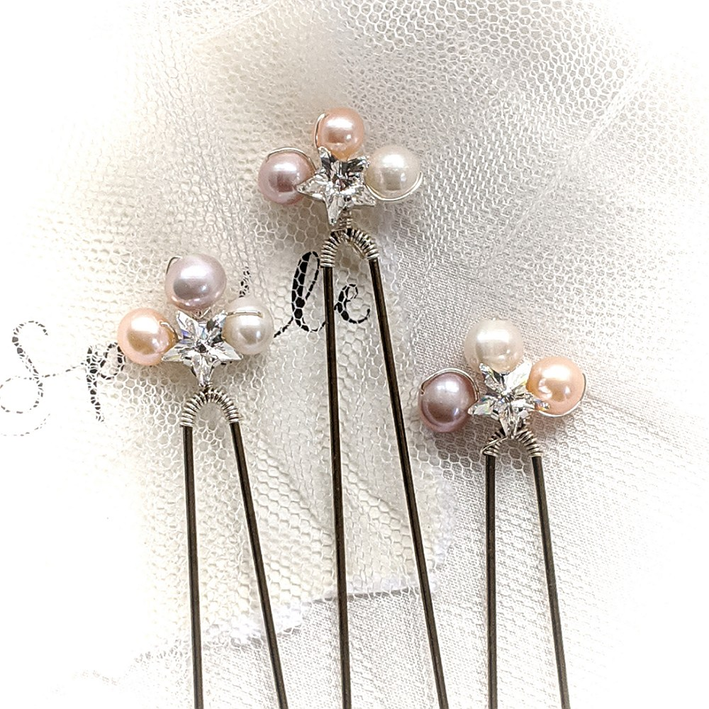 Swarovski Star and Pearl Pins  Set of 3