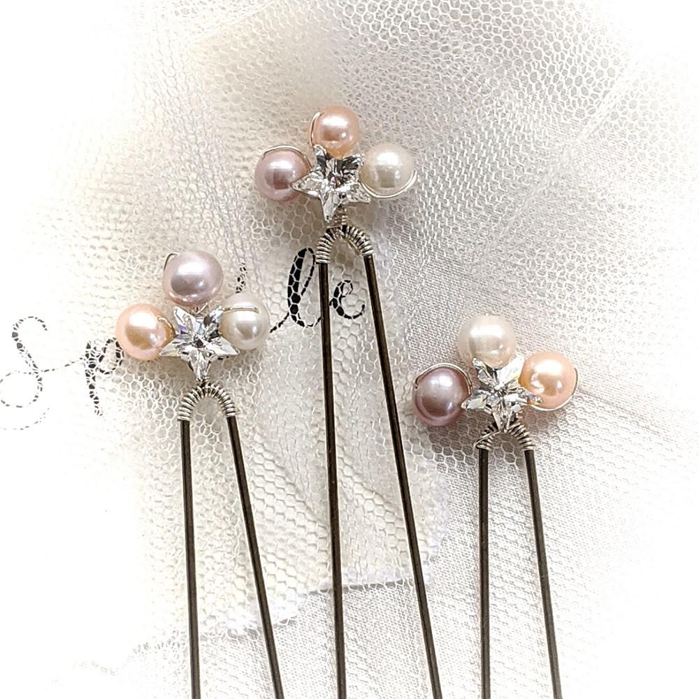 Swarovski Star and Pearl Pins  Set of 3