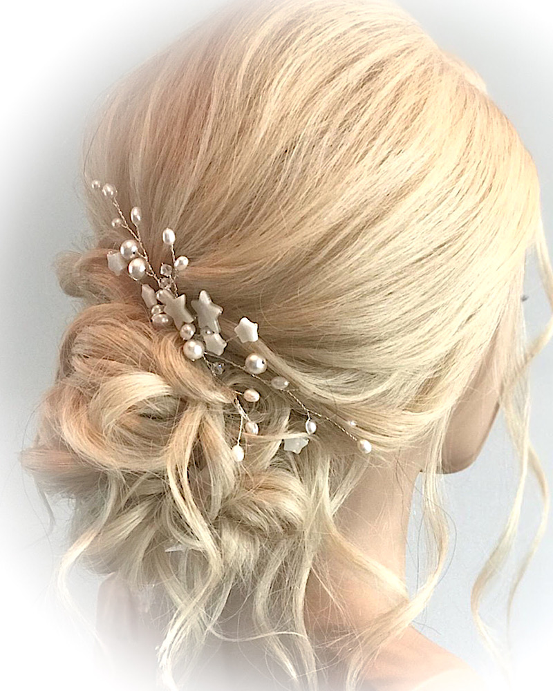 Celestial Shell Star and Pearl Bridal Comb