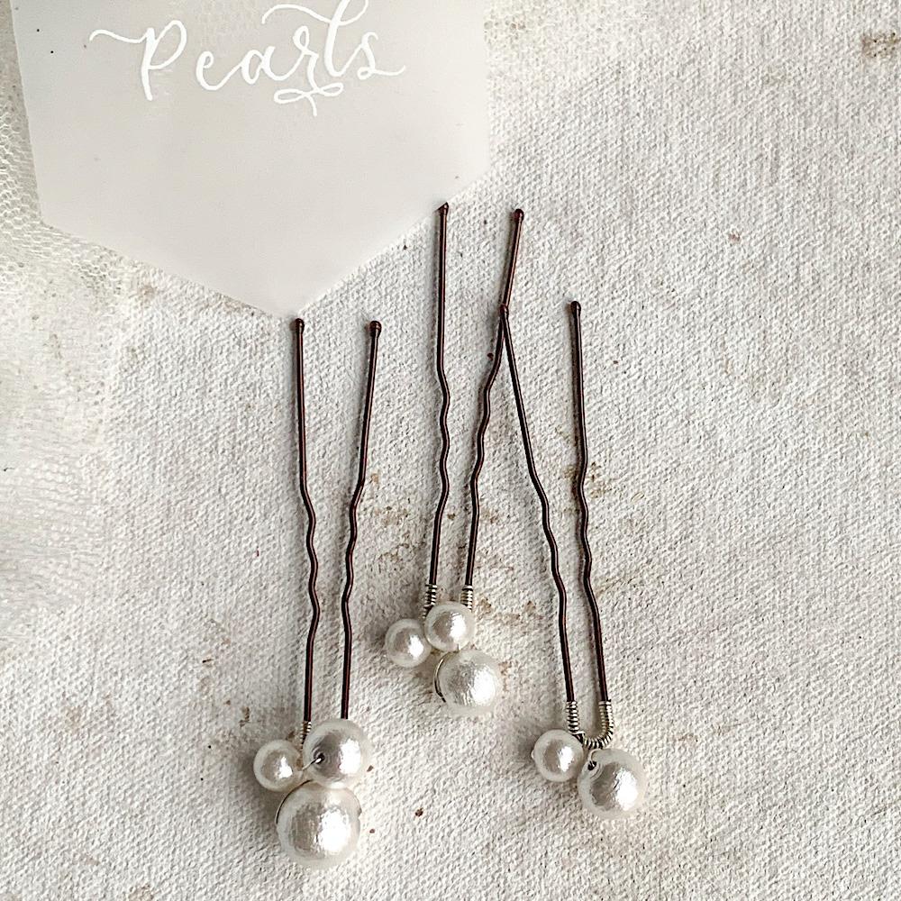 Cotton pearl cluster bridal hair pin