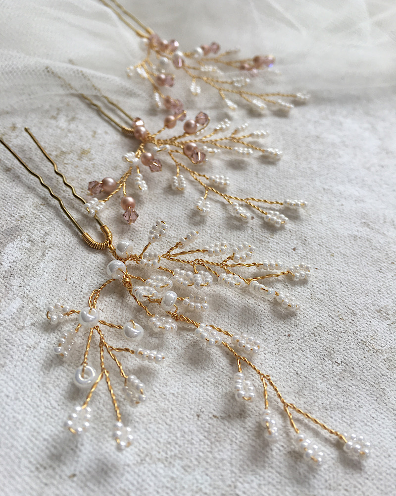Ivory and blush bridal accessories handmade in the UK