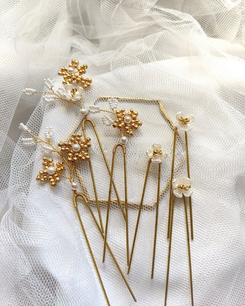 Gold Flower Hair Bridal Pins (Set of 6)