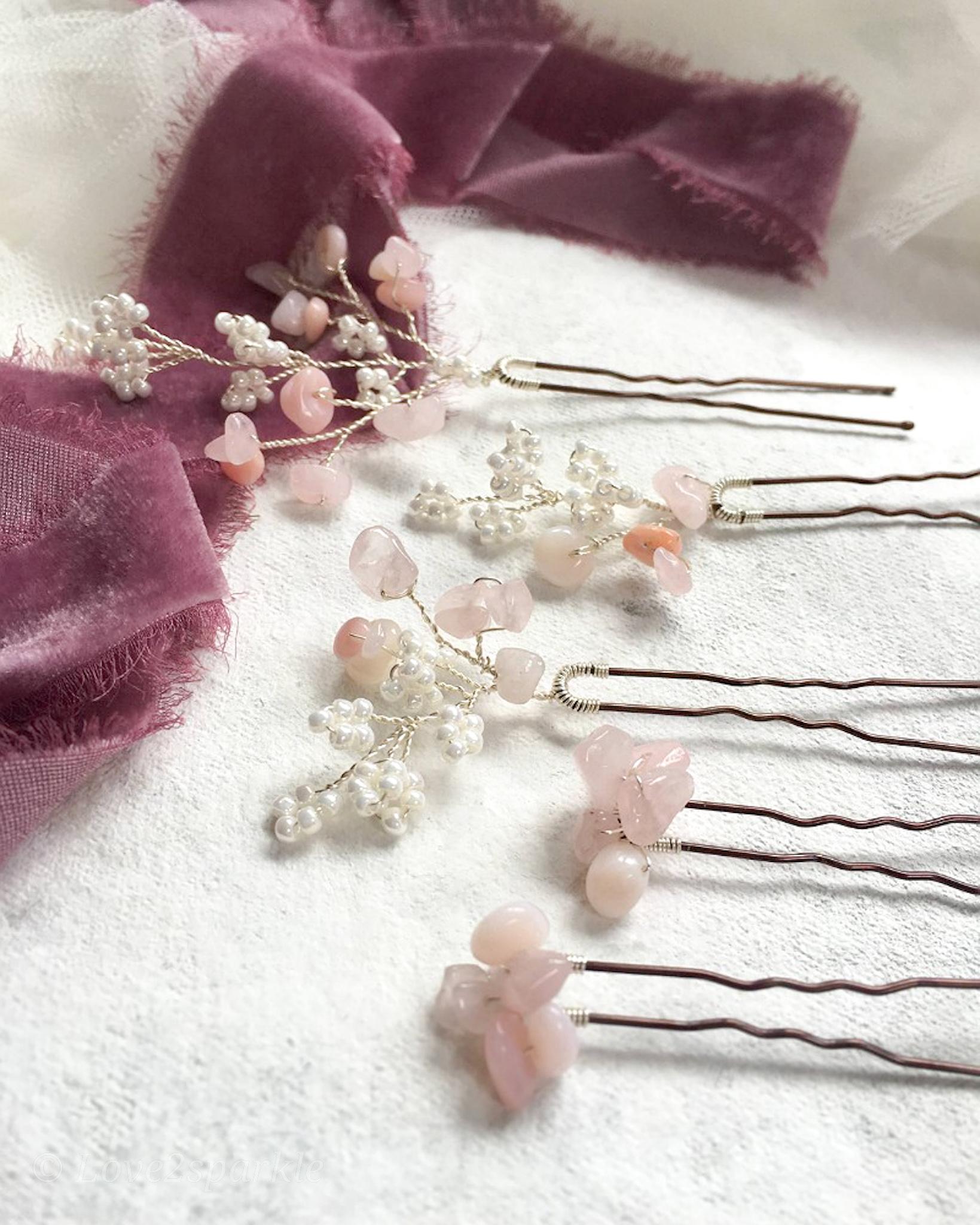 Rose quartz wedding hair pins