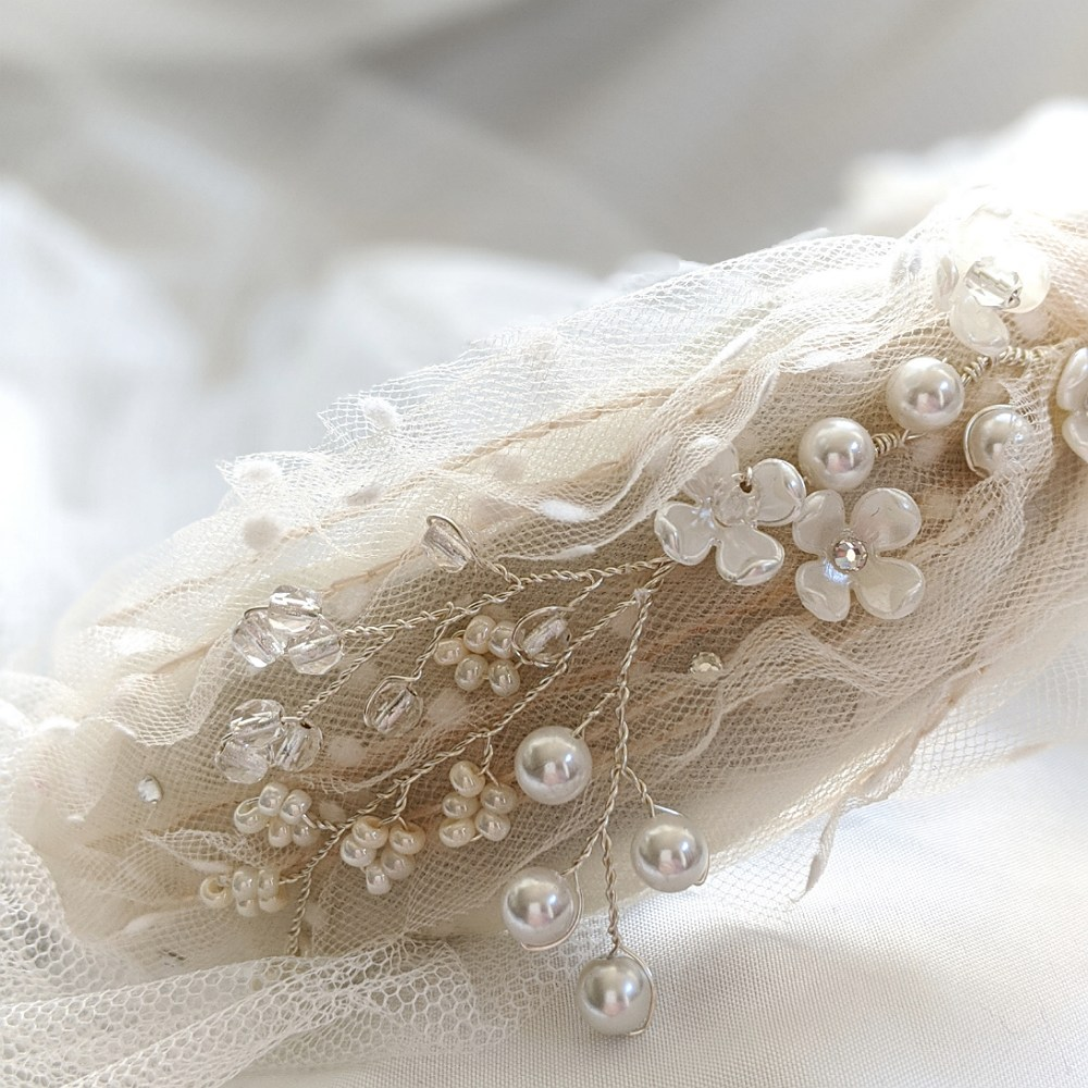 Spotted Tulle & Pearl Headband