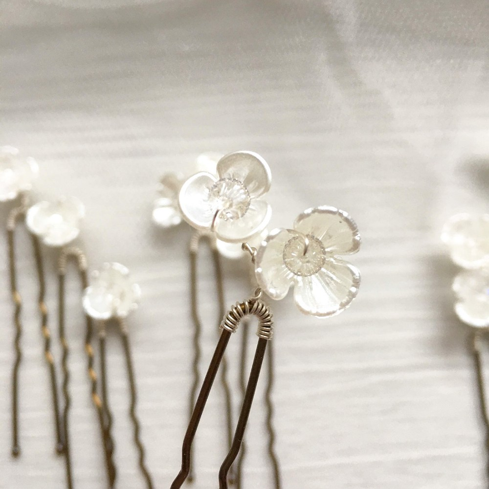 Ivory Floral & Swarovski Crystal Hair Pins (Set of 12)