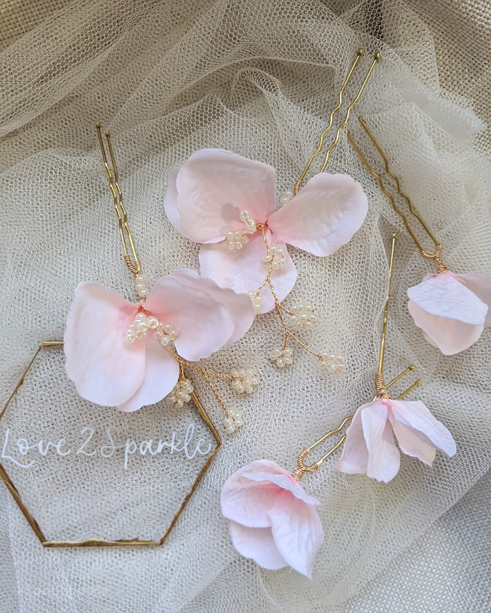 Pink Hydrangea Floral Pins (Set of 5)