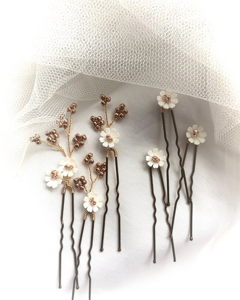 Daisy Rose Gold Hair Pins (set of 6)